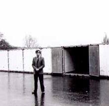 Alastair stands in front of his 'Sure Store' shipping containers in Colnbrook.